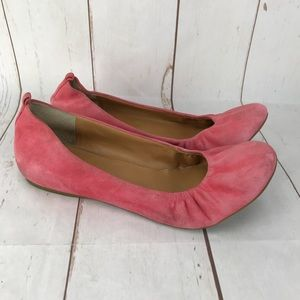 J. Crew Pink Suede Flats Size 9.5